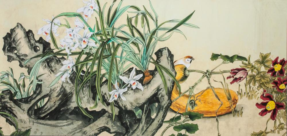 Chinese Watercolor Bird and Orchid on Paper Roll