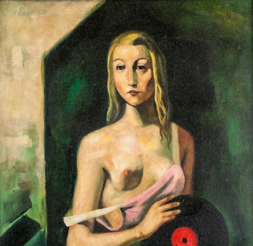 Lot 143: Oil on Canvas Nude Portrait Signed CH 41
