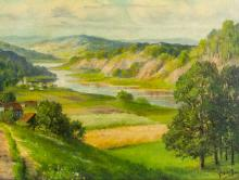 Lot 156: Oil on Board Landscape Signed G. WIRTH