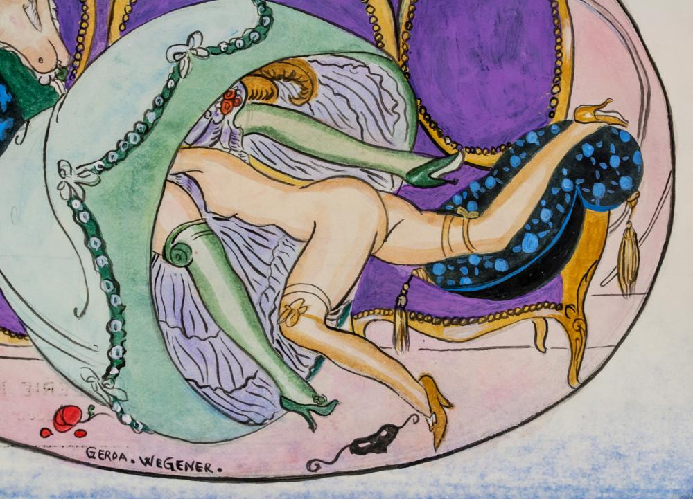 Lot 157: Gerda Wegener Danish Art Deco Watercolor on Paper