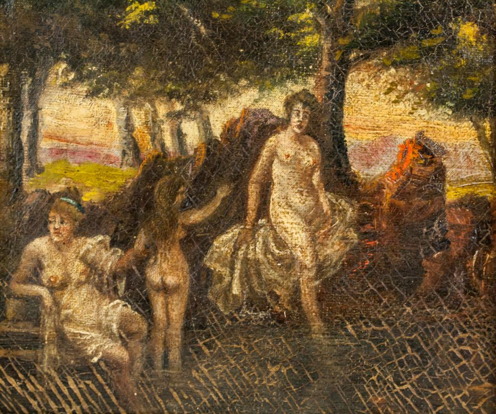 Lot 154: Oil on Canvas Myth Scene Unsigned with Inscription