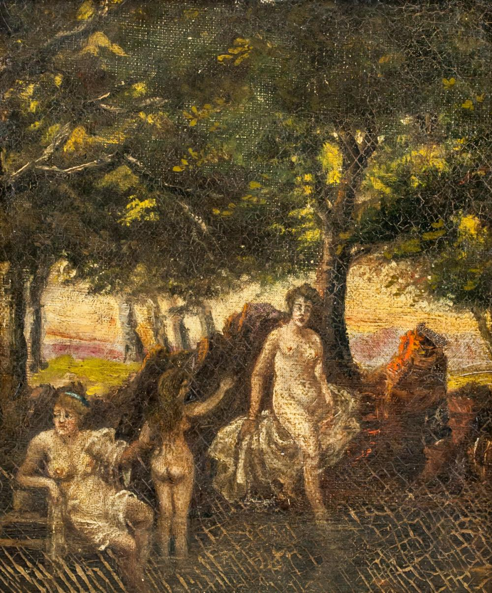 Oil on Canvas Myth Scene Unsigned with Inscription
