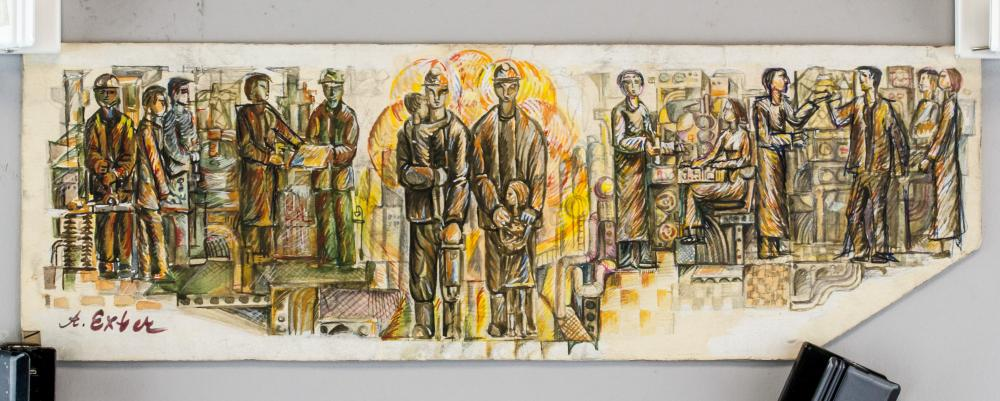 Lot 162: Alexandra Exter Ukrainian Cubist Mixed Media