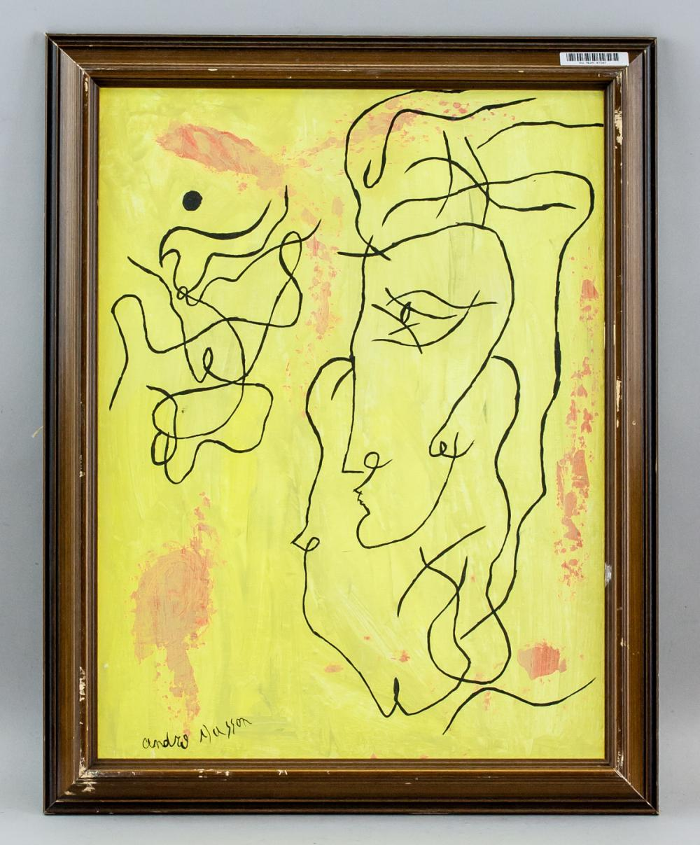 Lot 166: Andre Masson French Abstract Oil on Canvas