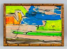 Lot 171: American Modernist Oil on Canvas Signed Illegibly