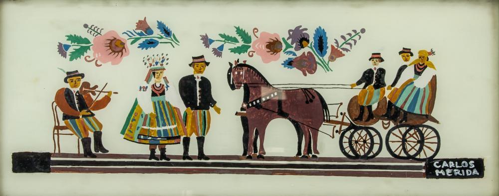 Carlos Merida Guatemalan Cubist Gouache Signed