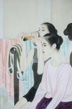 Lot 177: He Jiaying b.1957 Chinese Watercolor Ballerinas
