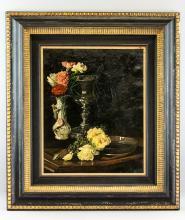 Lot 179: Anton Zilzer Hungarian Still Life Oil on Canvas