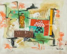 Lot 204: German-Swiss Modernist Oil Canvas Signed Illegibly