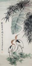 Lot 213: Li Kuchan 1898-1983 Chinese Watercolor Egrets