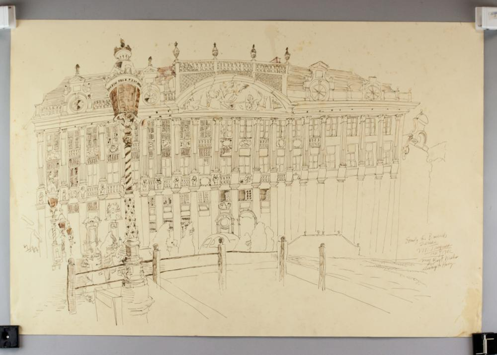 Lot 216: Michael Jacques US Sketch Royal Palace of Brussels