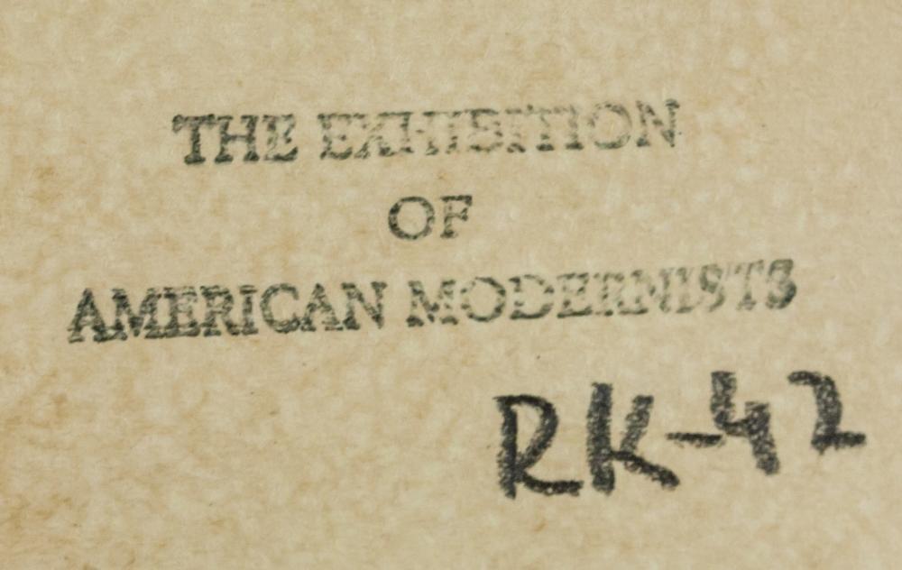 Lot 215: American Modernist Tempera on Paper Landscape