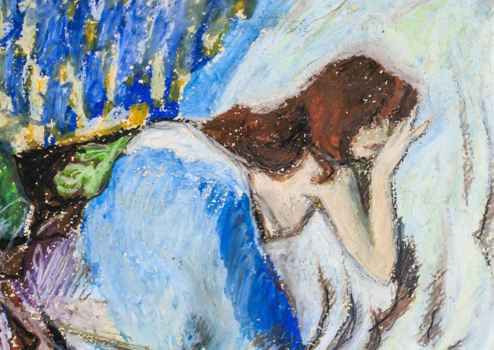 Lot 219: French Impressionist Mixed Media Signed