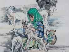 Lot 224: Huang Zhou 1925-1997 Chinese Watercolor Scroll