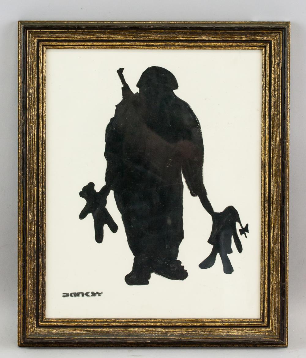 Lot 227: Banksy British Pop Mixed Media on Paper