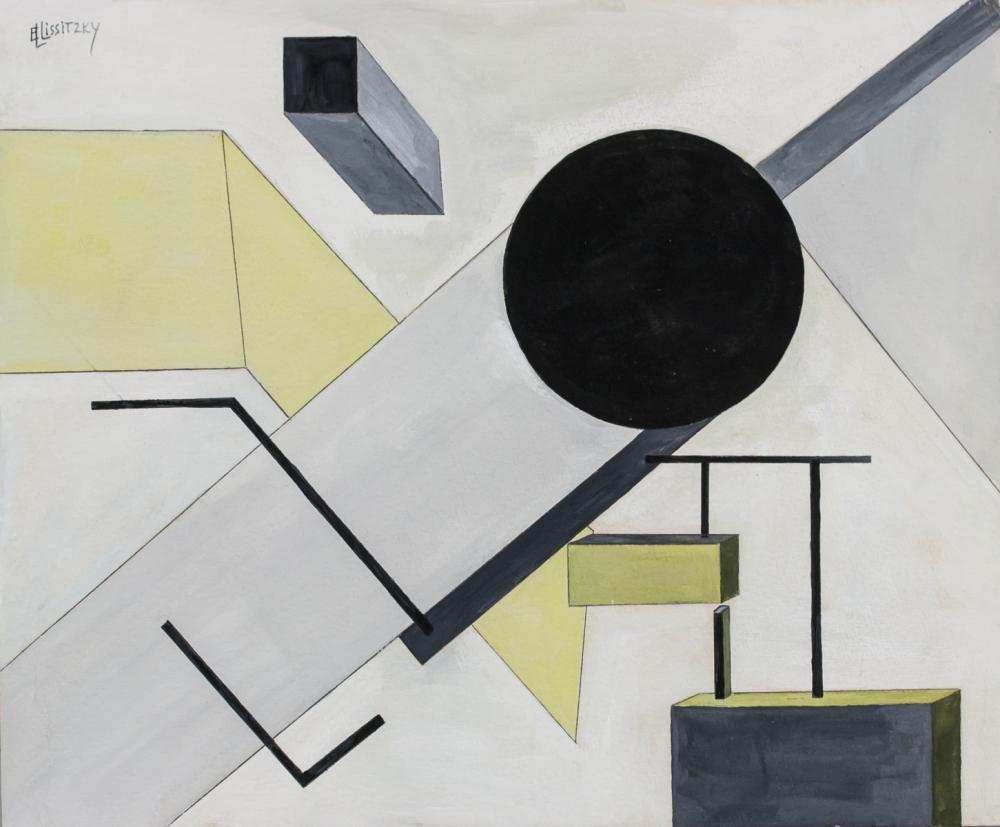 Lot 239: El Lissitzky Russian Suprematist Gouache on Paper