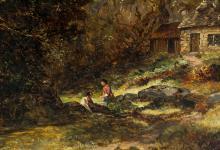 Lot 256: James Poole British XIV Oil on Canvas Landscape