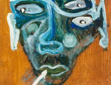 """Lot 257: Oil on canvas """"Oui Mon Chien"""" 2005"""