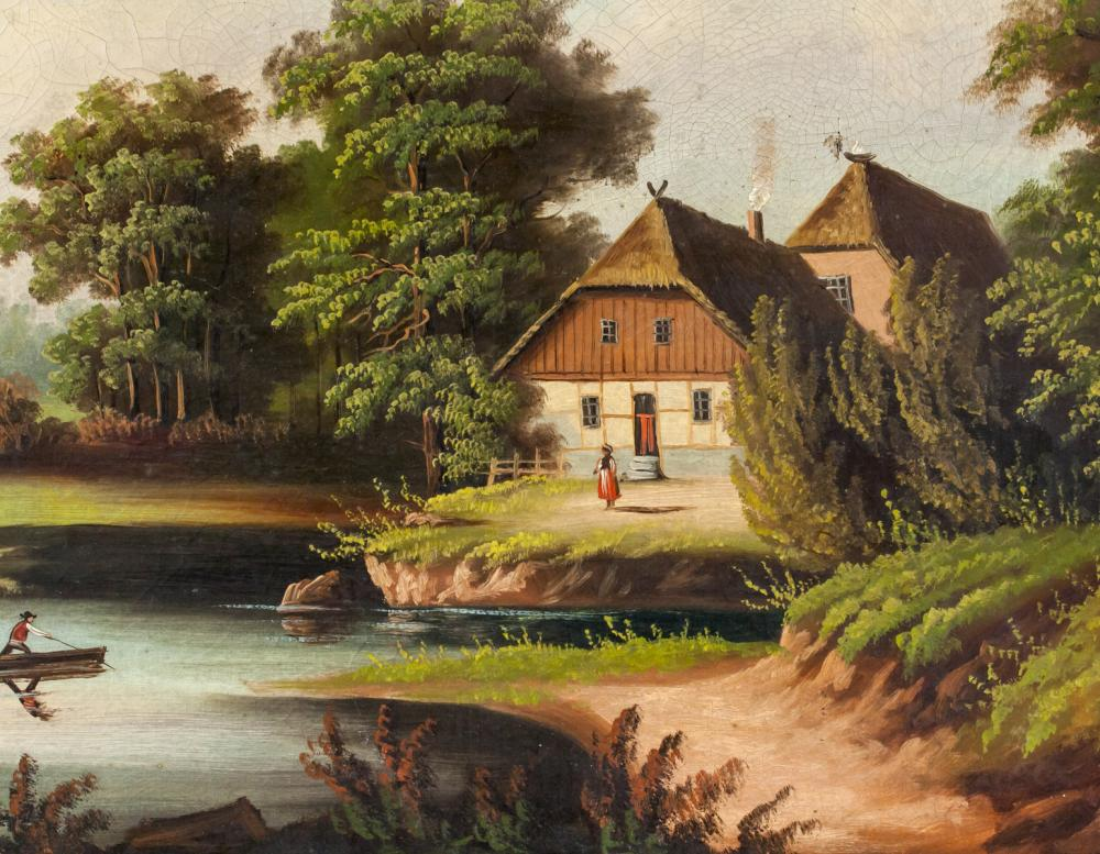 Lot 262: European Oil on Canvas Landscape Scene