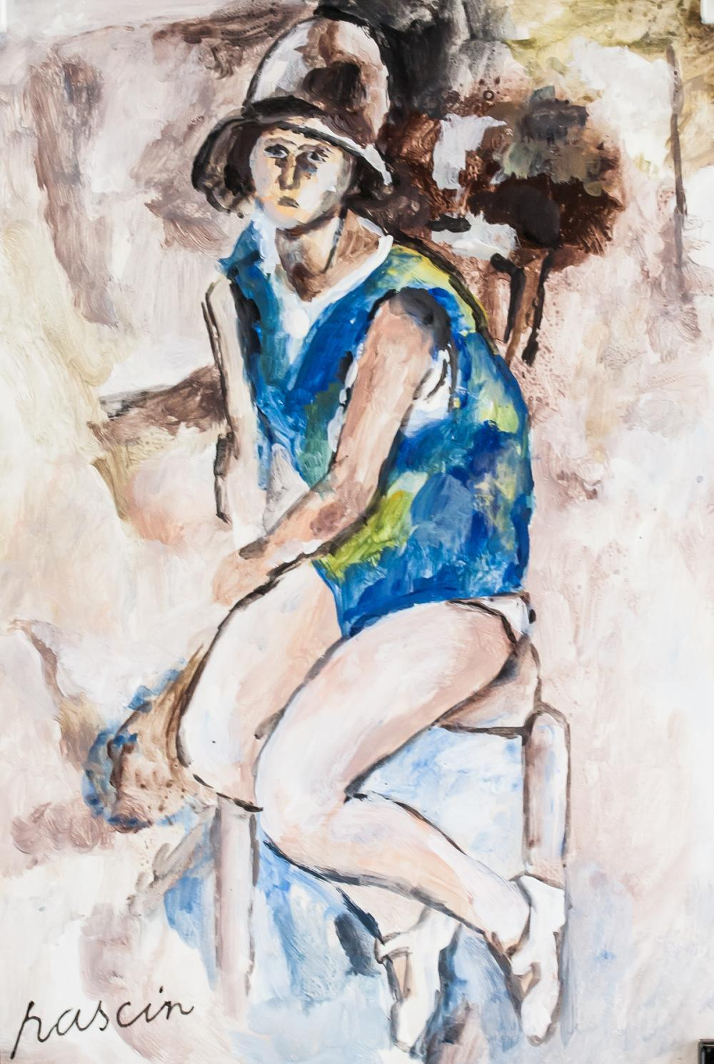 Lot 265: Jules Pascin French Expressionist Gouache on Paper