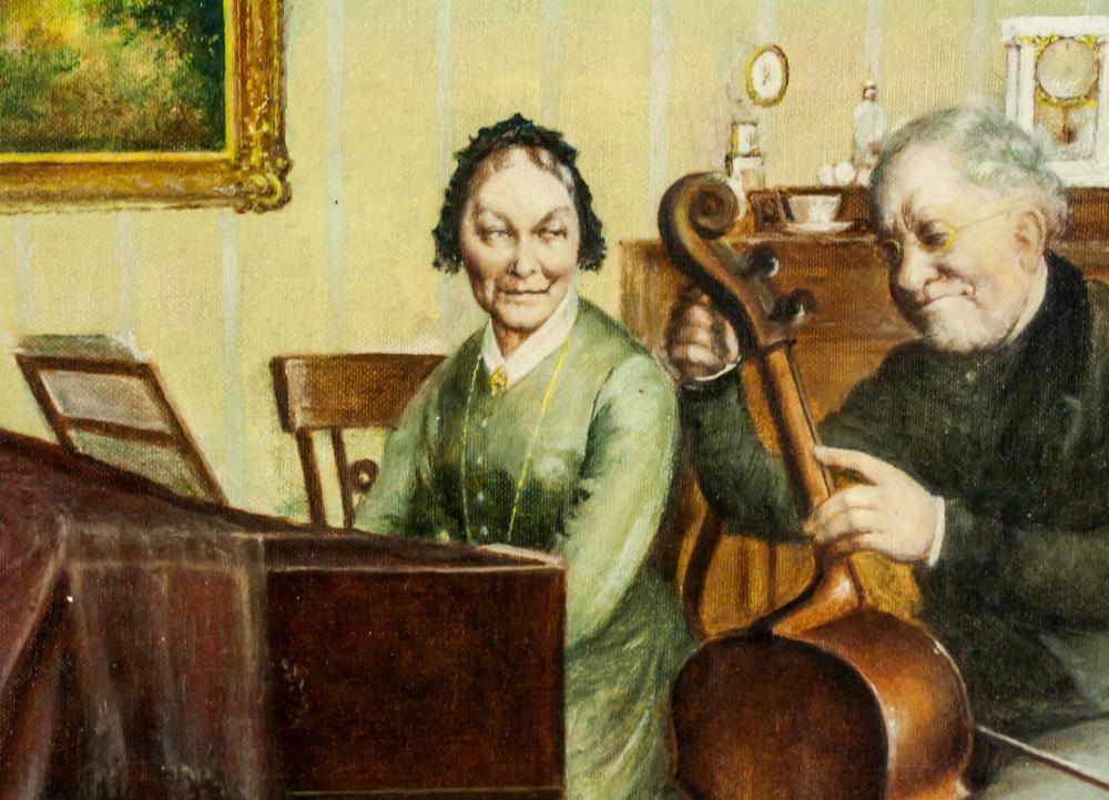 Lot 264: Oil on Canvas Framed Portrait of Instrumentalist