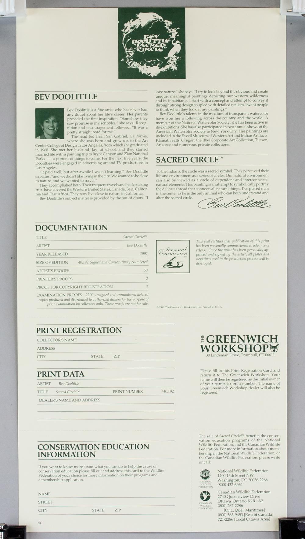 Lot 267: Bev Doolittle b. 1947 US Signed Litho 27083/40192
