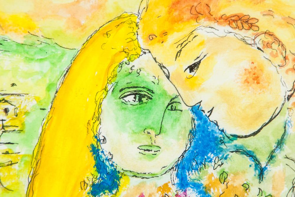 Lot 281: Marc Chagall Russian-French Surrealist Mixed Media