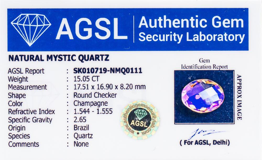 Lot 350: 15.05ct Mystic Quartz Gemstone AGSL