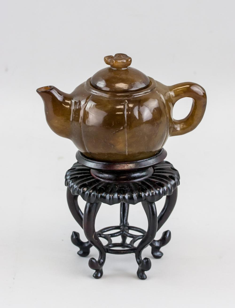Lot 316: Chinese Brown Jade Carved Teapot with Stand
