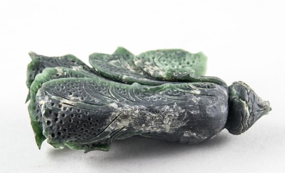 Lot 315: Chinese Hetian Green Jade Cabbage with Wood Stand