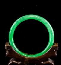 Lot 322: Burma Green Jadeite Bangle Grade A GIA Certificate