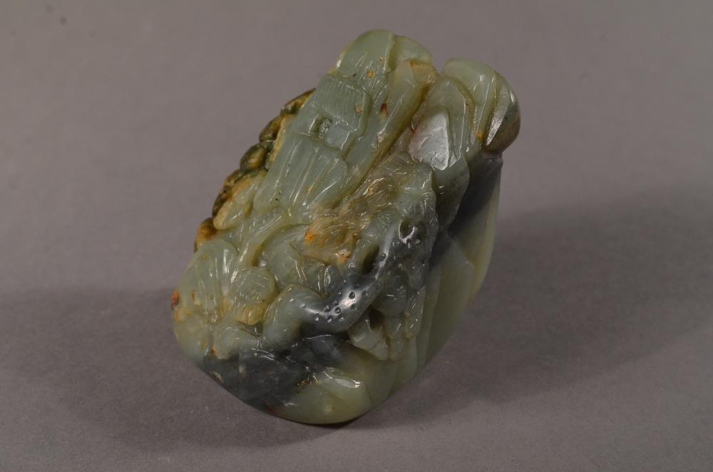 Lot 314: Chinese Celadon Jade Boulder of House & Crane