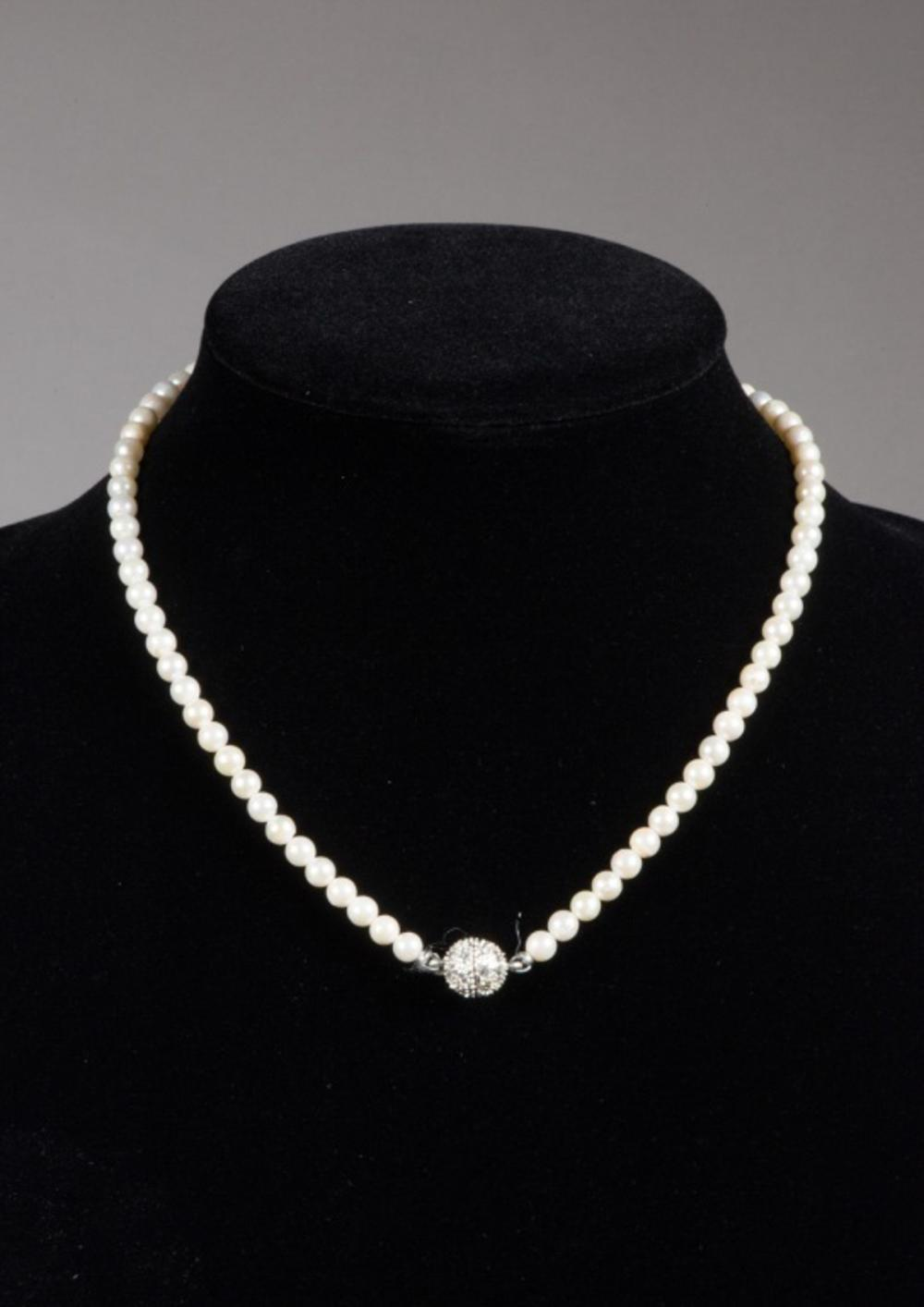 Lot 328: Magnetic Clasp Natural Pearl Necklace