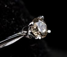 Lot 326: 10kt White Gold Diamond (0.22ct) Ring