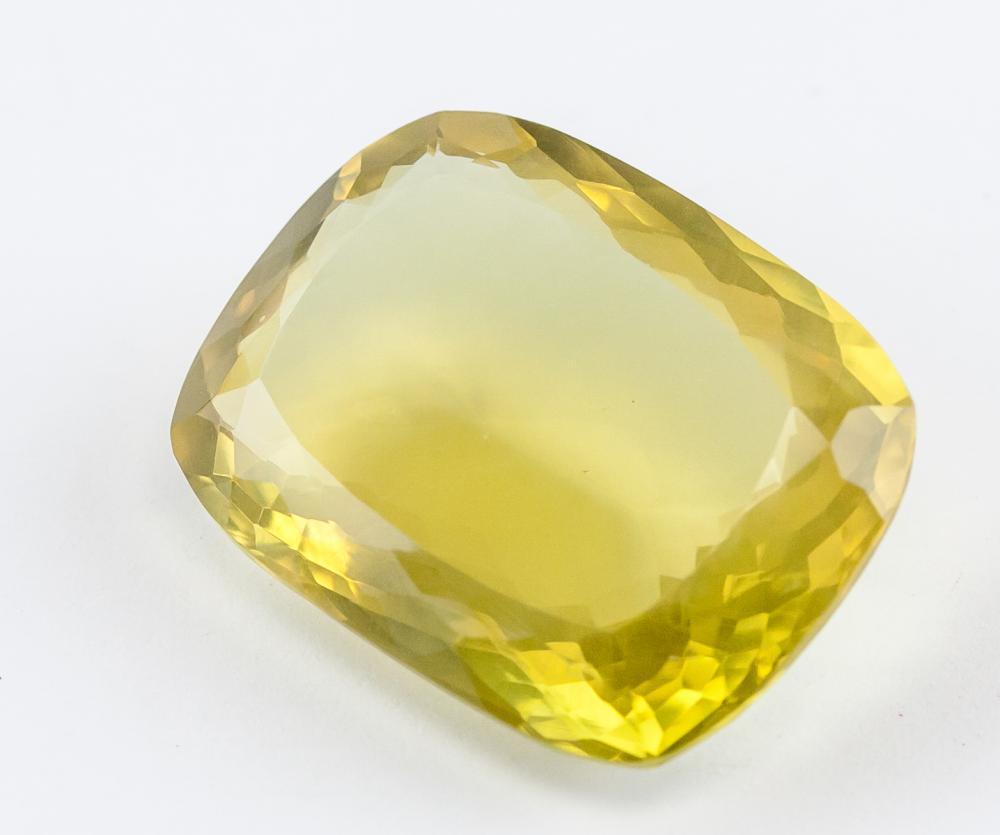 Lot 338: 36.55 Ct Cushion Cut Yellow Citrine Gemstone GGL
