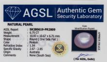 Lot 346: 6.75 Ct Pinkish Natural Pearl AGSL Certificate