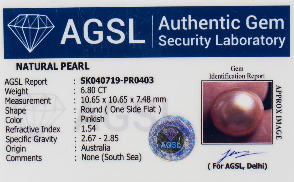 Lot 347: 6.80 Ct Pink Natural Pearl Gemstone AGSL Certifica