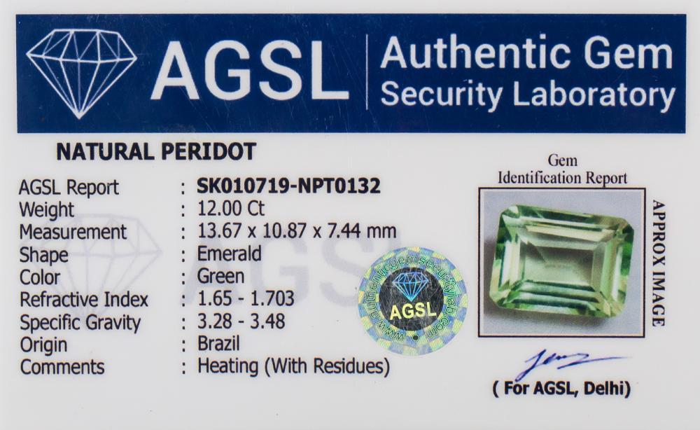Lot 348: 12 Ct Emerald Cut Green Natural Peridot Gemstone