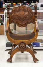 Lot 419: Russian Antique Wood Lion Chair