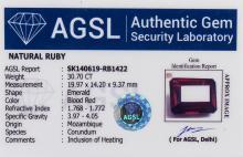 Lot 355: 30.70 Ct Emerald Cut Red Natural Ruby Gemstone