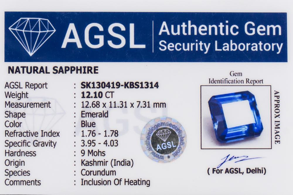 Lot 358: 12.19 Ct Natural Blue Sapphire AGSL Certificate