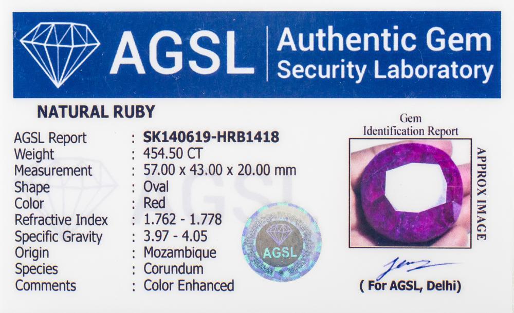 Lot 356: 454.5 Ct Oval Cut Red Ruby Gemstone AGSL