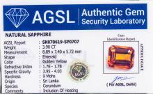 Lot 359: 3.90ct Emerald Cut Golden Yellow Sapphire AGSL