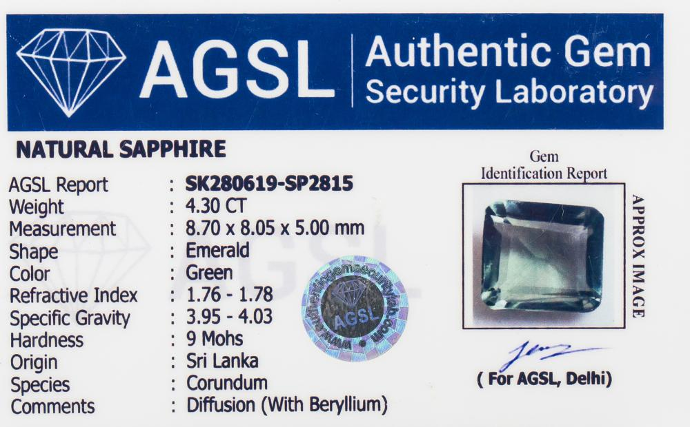 Lot 361: 4.30 Ct Emerald Cut Green Sapphire Gemstone AGSL