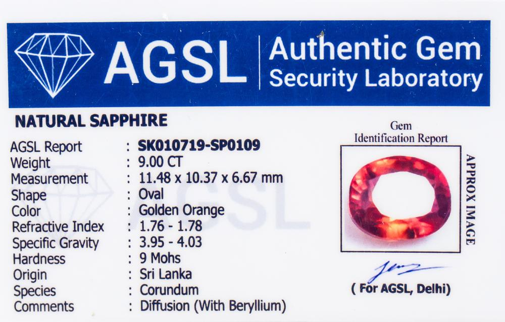 Lot 365: 9.00ct Oval Cut Golden Orange Sapphire AGSL