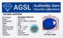 Lot 360: 303.30 Ct Oval Cut Blue Sapphire Gemstone AGSL