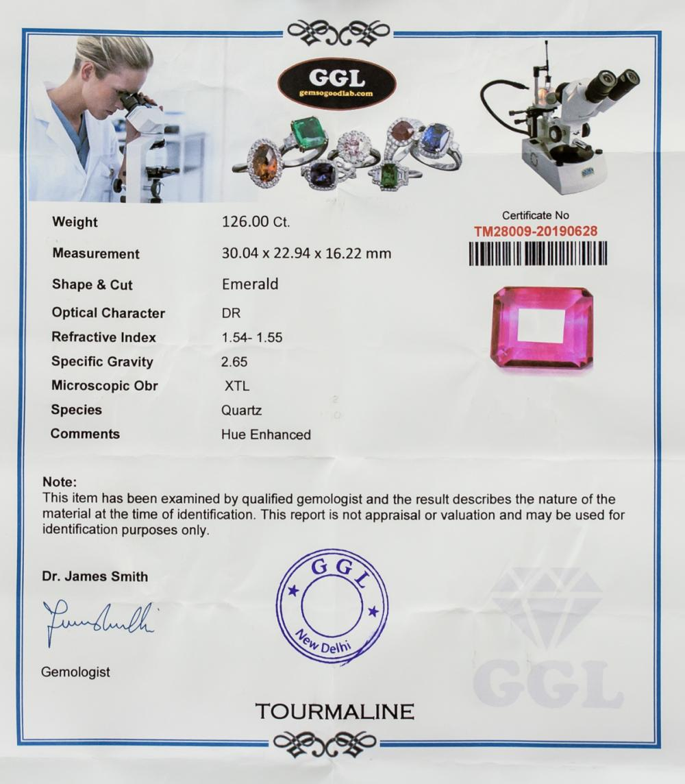 Lot 372: 126 ct Emerald Cut Tourmaline GGL Certificate