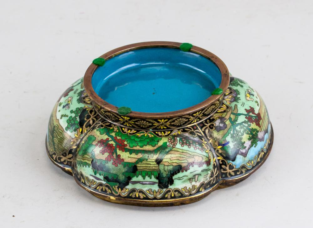 Lot 393: Chinese Bronze Cloisonne Pedal Shaped Lobed Box