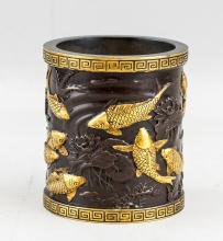 Lot 392: Chinese Bronze Carp and Lotus Brush Pot with Mark