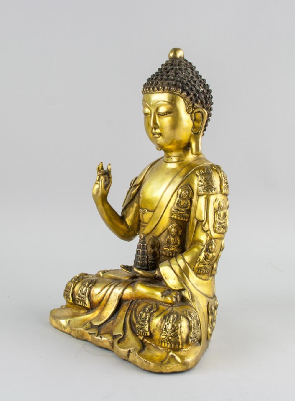 Lot 394: Chinese Gilt Bronze Medicine Buddha Yongle Mark